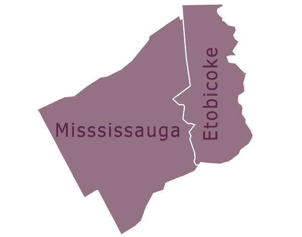 Etobicoke and Mississauga map